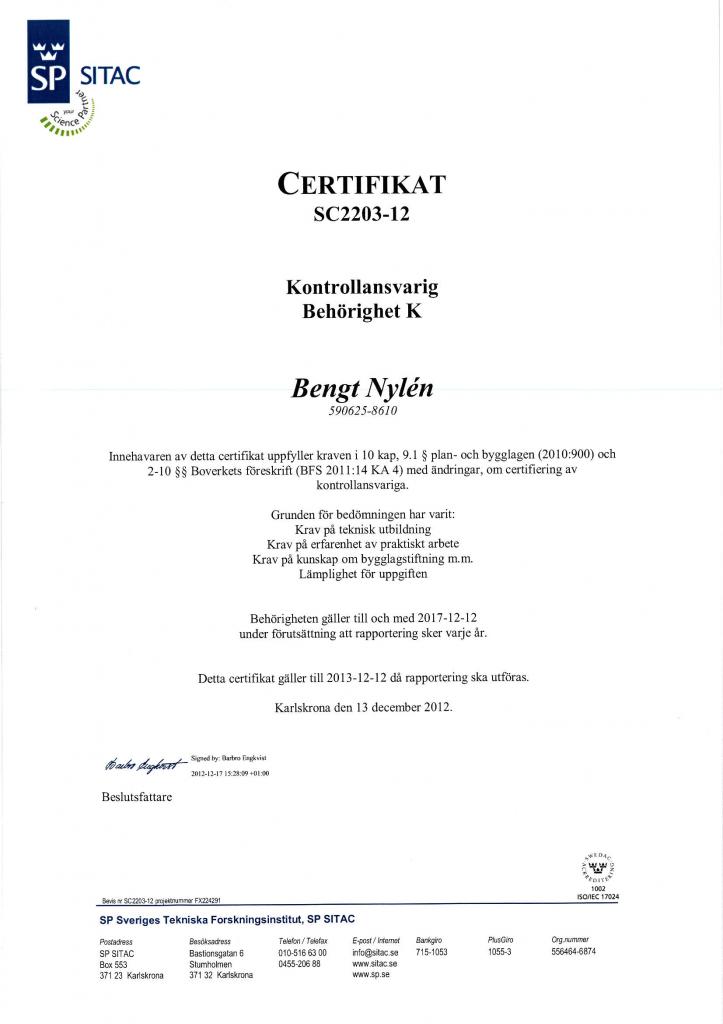 Certifierad Kontrollansvarig